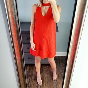 NWOT XOXO Orange Red Mini Halter V Neck Dress